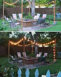 15 diy backyard and patio lighting projects wooden posts cement