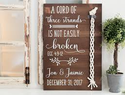 3 cords wedding ceremony a cord of three strands wood sign wedding unity ceremony