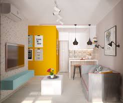 small apartment design with yellow shades by mariia movchan