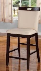 dark oak bar stools set of 2 shirley collection white faux leather and dark oak finish
