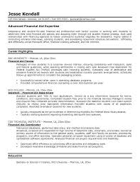 Resume Examples Finance by Example Financial Aid Resume Free Sample
