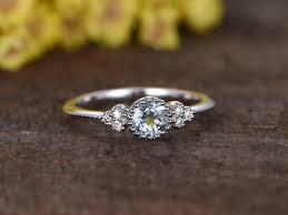 aquamarine and diamond ring 0 5 carat aquamarine diamond engagement ring 14k white gold
