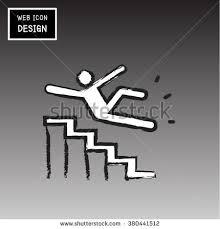 vector slippery stairs warning sign illustration stock vector