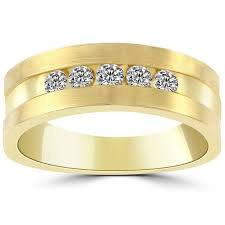 gold mens wedding bands 0 50 carat diamond mens wedding band ring 14k yellow gold