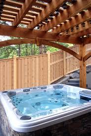 tub backyard before u0026 after timber frame pergola install over