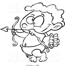 vector of a cartoon little cupid practicing with arrows coloring