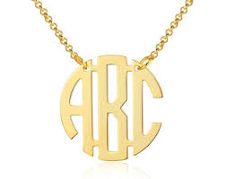 gold plated monogram necklace monogram necklace etsy