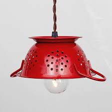 re d lairage pour cuisine mini kitchen colander pendant light cherry enamel vintage