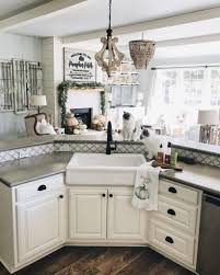 kitchen with apron sink inexpensive farmhouse hacks diy concrete counters and faux farm