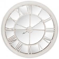 Horloge Murale Ronde Blanche Avec Murale Ronde Miroir D101cm Style Contemporain Avec Chiffres