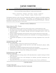 professor resume objective instructor resume taekwondo instructor resume