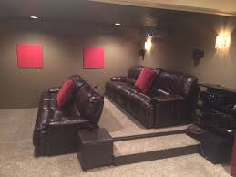 masculine teal home theater decoration with low lighting