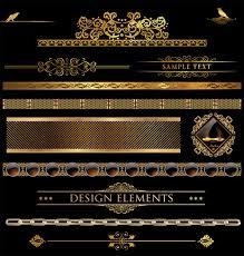 set of golden ornament borders design vector free vector in