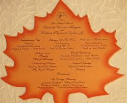 fall wedding programs maple leaf fan fall wedding ceremony program new york city canada