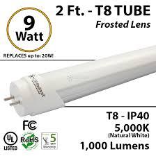led tube lights vs fluorescent 9 watt led tube light bulb 2 foot t8 5500k 1000lm frosted ledradiant