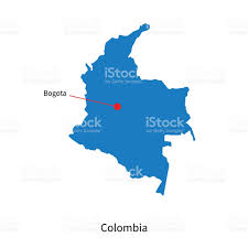 Colombia World Map by Detailed Vector Map Of Colombia And Capital City Bogota Stock