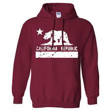 Cardinal Flag California Flag White Print Silhouette Sweatshirt Hoodie