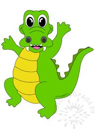 vector illustration happy crocodile coloring page