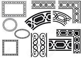 border border corner decorated with geometric designs royalty