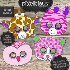 beanie boo printable masks photo props decorations instant