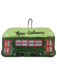 green nola streetcar salt dough ornament fleurty