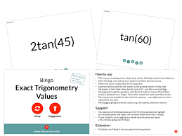 exact trigonometry values bingo