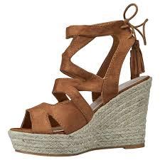 juno womens high wedge heel lace up tassel ladies sandals hessian