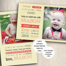 one year old birthday party invitation with matching thank you