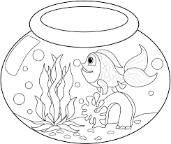 empty fish bowl coloring page printable cat clip art free graphic