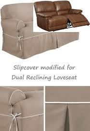 dual reclining loveseat slipcover t cushion twill contrast taupe