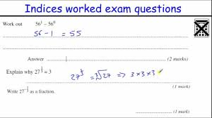 indices gcse maths revision higher level worked exam questions