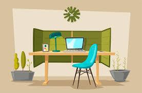ensemble de bureau ensemble de tables de bureau illustration de vecteur de dessin animé