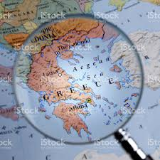 Map Of Greece by Magnifying Glass Over A Map Of Greece Stock Photo 459973931 Istock
