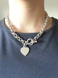 heart chain choker necklace images Vintage tiffany style sterling toggle clasp heart by toggle jpg