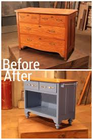 before and after images from hgtv s flea market flip cottage a traditional piece of furniture becomes a cottage kitchen island