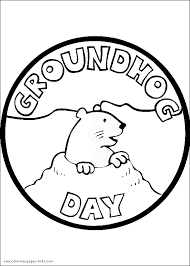 Groundhog Day Color Page Coloring Pages For Kids Holiday Groundhog Color Page