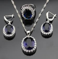 silver necklace with sapphire images White topaz huge blue sapphire 925 sterling silver jewelry set jpg