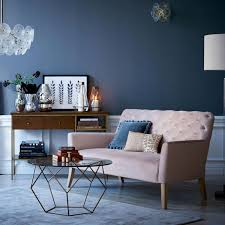 Dark Blue Bedroom by Pink Sofa And Dark Blue Grey Walls Http Www Westelm Co Uk