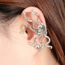 pierced earring 1 pc gold silver color octopus shaped ear cuff hook non pierced