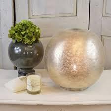 egyptian pierced nickel globe table lamp three sizes available