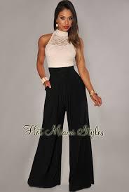 ivory jumpsuit lace black wide leg jumpsuit