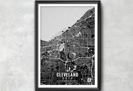 Cleveland Ohio Map by Cleveland Ohio Map With Coordinates Cleveland Map Map Art