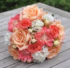 silk bridal bouquet silk bridal bouquet with roses coral dahlias coral