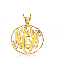 circle monogram necklace gold plated monogram necklaces the name necklace