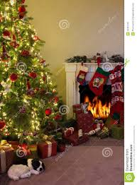 fireplace and christmas tree royalty free stock image image