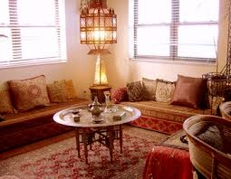 Lounge Benches Traditional Moroccan Living Room With Low Benches And Brass Tray