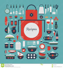 set of kitchen utensils and food stock vector image 50379102