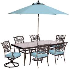 Patio Furniture Dining Sets With Umbrella - hanover traditions 7 piece outdoor dining set with rectangular