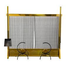 vintage fireplace screen and andirons set attributed to donald