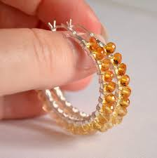 november birthstone citrine hoop earrings real shaded gemstones ombre jewelry wire